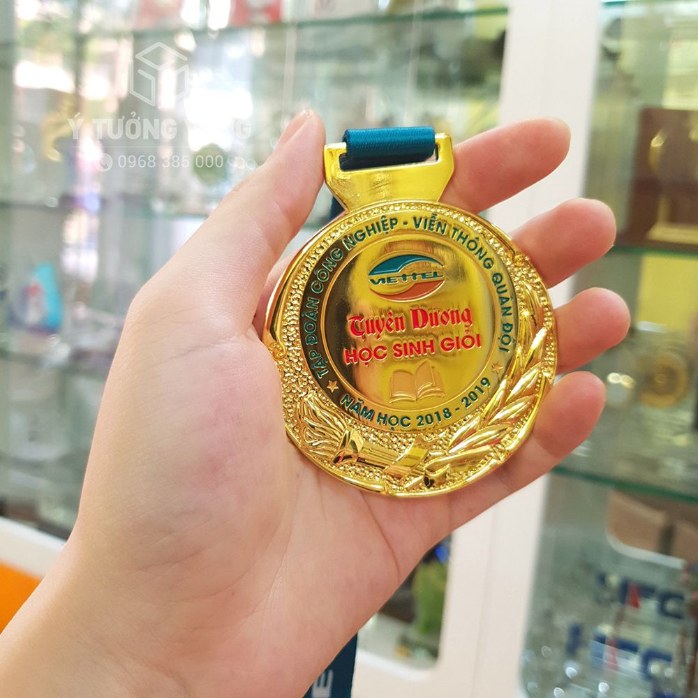 Mẫu huy chương hợp kim đồng mạ vàng tuyên dương học sinh giỏi