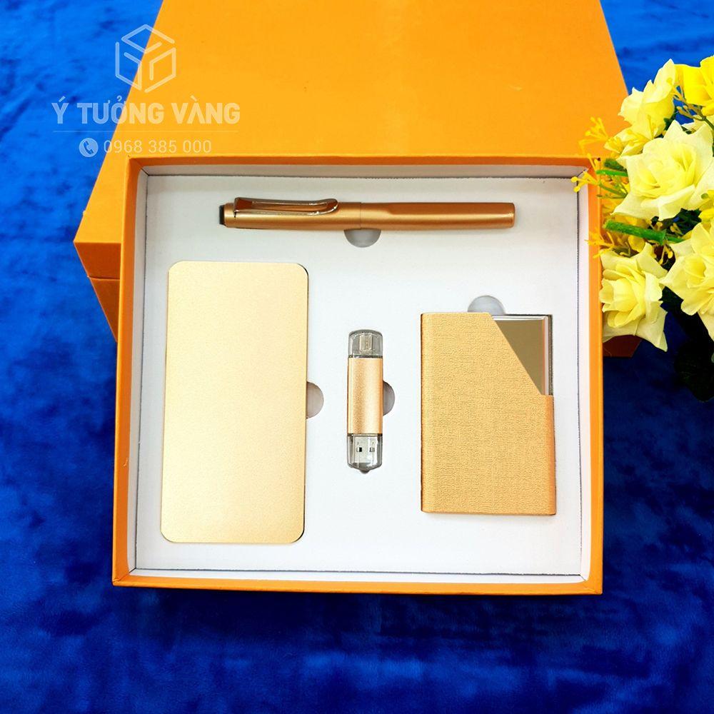 Bộ giftset quà tặng màu vàng sang trọng